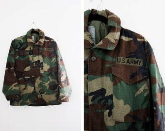 Vintage Camo Parka Jacket - Camouflage Coat - US Army Jacket - Army Field Jacket - Military Coat - Size Small Short