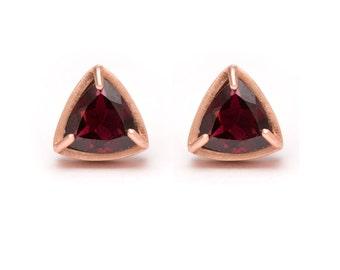 Trillion Cut Studs - Rose Gold Stud Earrings - Garnet Studs - Gemstone Stud Earrings - Prong Set Studs with Bezel Rim
