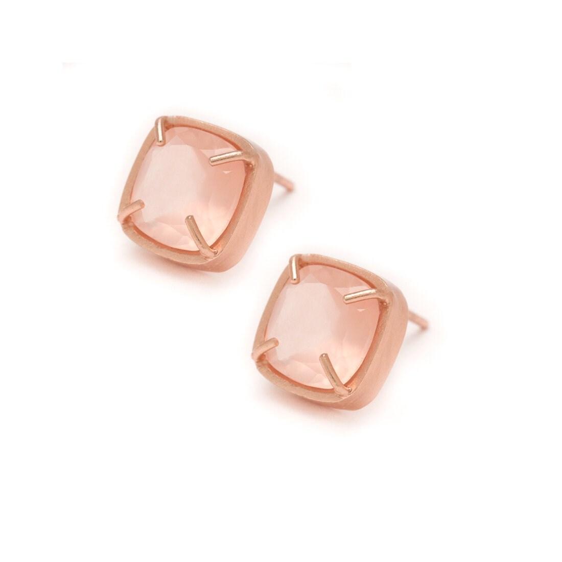 rose quartz stud earrings rose gold gemstone stud earrings. Black Bedroom Furniture Sets. Home Design Ideas