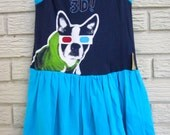 Girls Size 3T Puppy 3D Glasses Sleeveless Knit Dress. Blue. Black Friday/Cyber Monday/Free Shipping /Gifts under 50/gifts for kids
