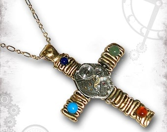 Four Elements of Time Steampunk Necklace by Za Dee Da - The Mystic Seeker Collection -  A Time for All Seasons