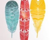 Feather Art Watercolor Painting - Archival Print - Lhasa Feathers