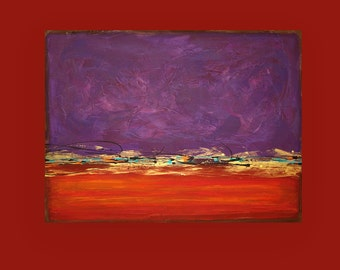 """Acrylic Abstract Original Painting on Canvas Red and Purple Titled: Red Dawn 10 28x38"""" Unstretched by Ora Birenbaum"""