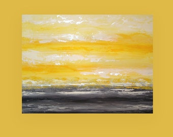 """Art Abstract Painting on Gallery Canvas Titled: Morning Mist 10 30x40x1.5"""" by Ora Birenbaum"""