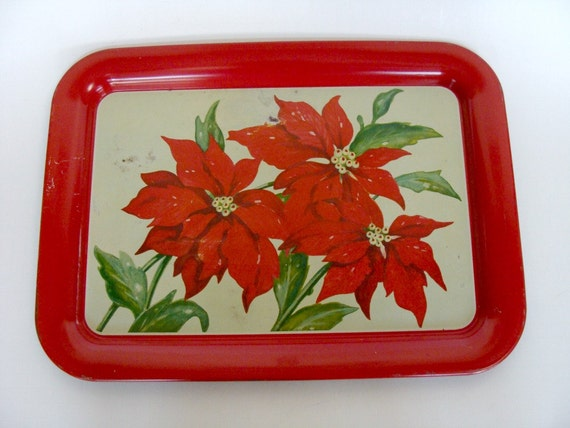 Large Poinsettia Christmas Tin Metal Tray, Christmas Party Decor, Serving Food Tray, Kitchenware