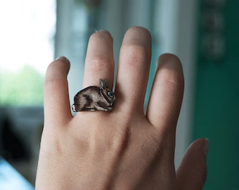 SALE Rabbit Ring | Brown Bunny | Gift Under 10