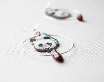 Panda Bear Earrings  / Chevron Earrings / Hoop Earrings / Black and White / Endangered Species / Zig Zag / Plastic Jewelry / Wearable Art