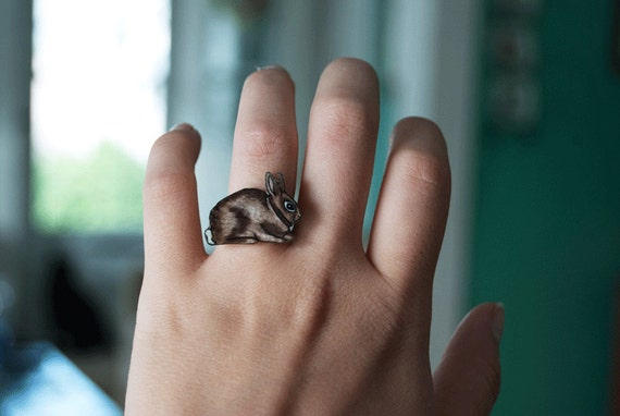 Rabbit Ring | Brown Bunny | Gift Under 10