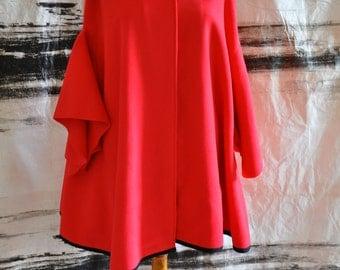 Red cashmere cape Handmade red cape XXL Maxi cloak winter Jacket Coat Cape woman cape cashmere 80% Woman Cape Autumn cape made by /T0076