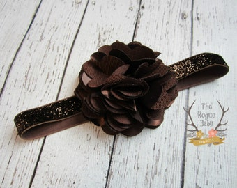 Dark Brown Glitter Headband with Satin & Tulle - Frosted Chocolate -  Baby Infant Toddlers Girls Women Maroon