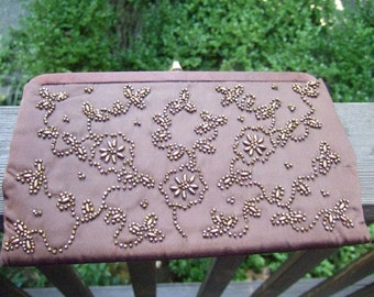 Copper Beaded Brown Satin Clutch by Soure' c 1960