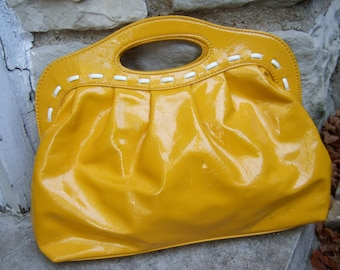 Mod Vibrant Yellow Vinyl Clutch by Candies