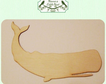 Whale / Ocean / Nautical (Small) Wood Cut Out -  Laser Cut