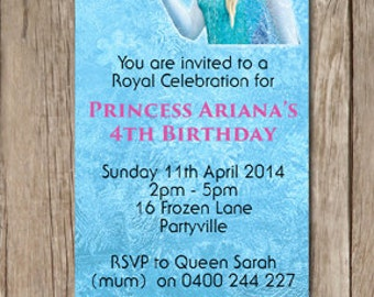 Ticket Style Frozen Birthday Invitations - You Print