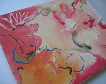 Vintage Abstract Painting With Coral, Pinks and Oranges