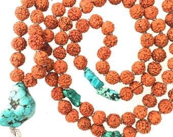 Turquoise Rudraksha Mala
