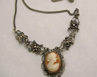 Sterling Silver Cameo Filigree Necklace