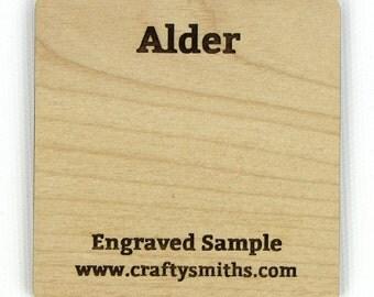 Alder - Solid Wood Laser Engraved Sample Chip