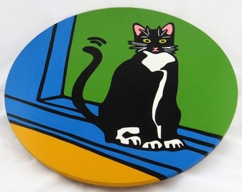 """Tuxedo Cat/Black & White Cat 16""""  Wooden Lazy Susan. Hand-painted on white birch."""