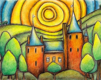 Castell Coch or Castle Coch A4 Cardiff from Original Drawing by Gayle Rogers Made in Wales