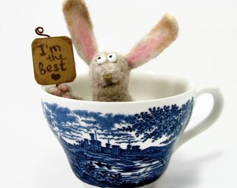 Needle Felted  Bunny toy I'm the best Soft Sculpture miniature gift Easter surprise table decor