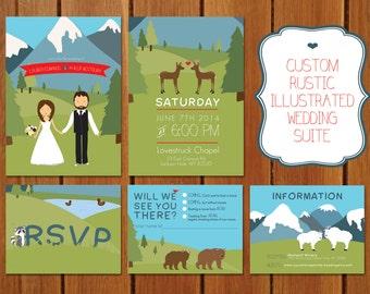 Custom Rustic Illustrated Mountain Wedding Invitation