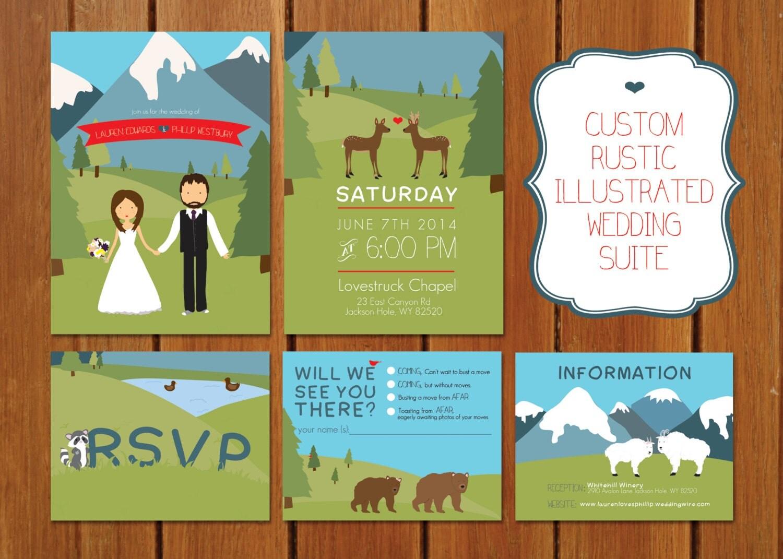 Illustrated Wedding Invitations: Custom Rustic Illustrated Mountain Wedding Invitation
