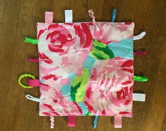 Baby taggie blanket made with Lilly Pulitzer fabric