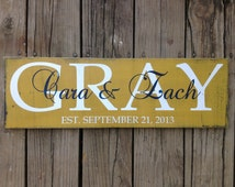 Personalized family name sign.  Family  established sign.