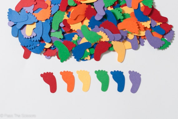 Rainbow Baby Shower, Baby Shower Decoration, Confetti, Footprint Baby Shower  From Sparkanddelight On Etsy Studio