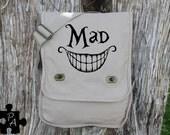 """Alice in Wonderland inspired """"Mad""""  Canvas Messenger Bag - Laptop Bag - iPad Bag - Diaper Bag - School Bag"""