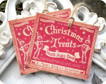 Christmas Treat Tags (6) Vintage Style Tags-Retro Tags-Tags for Food Gifts-Cookie Gift Tags-Shabby Gift Tags-Christmas Gift Tags-Favor Tag