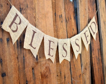 BLESSED BURLAP banner for FALL