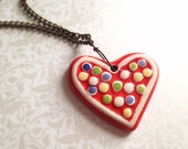 Hand-Painted Ceramic Heart Necklace. Vintage Style Brass Chain. Polka Dot. Whimsical. Heart Jewelry. Love. Romantic. Valentine's Day. 20