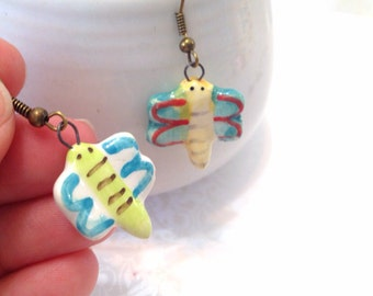 Ceramic Butterfly Mismatched Earrings. Whimsical. Blue. Green. Yellow. Glazed Ceramic. Antique Gold Ear Hooks. Dangle Earrings. Under 15.