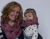 Pink and Grey Plaid Flannel Infinity Scarf