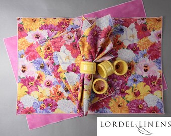 Spring Placemat Set, Bright Floral Spring Blooms, 4 Placemats, 4 Napkins and 4 Napkin Rings, Spring Home Decor, Table Accents