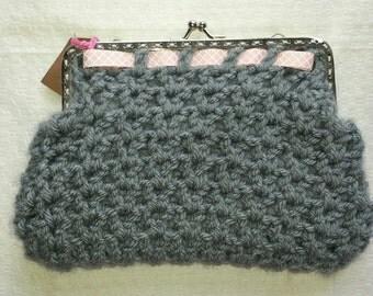 Medium sized clutch, small wallet in crochet