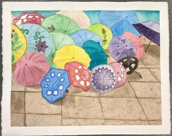 Umbrellas Original Watercolor Painting by Theresa Smith 16x20