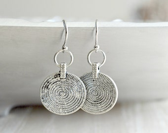 Silver Coin Dangle Earrings Double Hoop Drops Silver Disc Earrings Minimalist Jewelry -  B115