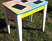 Child Desk, Children Furniture, Chalkboard Furniture, Painted Desk, Upcycled School Desk, Colorful Decor, Unique Furniture, Artsy Boho Decor