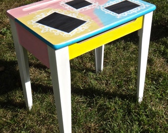 Child Desk, Children Furniture, Chalkboard Furniture, Painted Desk, Upcycled School Desk, Colorful Decor, Unique Furniture, Artsy Boho Decor