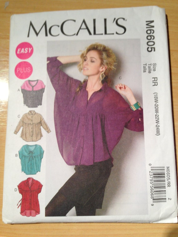 McCalls Sewing Pattern 6605 Womens Tops and Tunic Size 18, 20, 22, 24 UNCUT