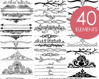 Hand Drawn Text Dividers Clip Art, Doodle Clipart, Hand drawing, PNG, 300dpi, Instant Download