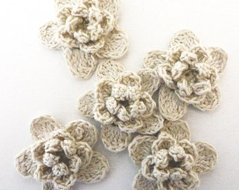Flower appliques #F013 decorations embellishments crochet 5 pieces 38 mm diameter weddings birthdays anniversaries celebrations