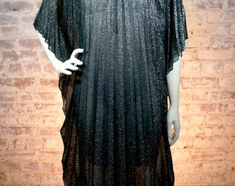 1970s Black Metallic Caftan Maxi Dress
