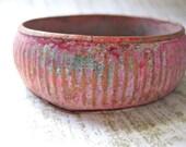 Impressionist look Bracelet, Pink Bangle, Ribbed Design, Turquoise, Rose Artistic Fashion VintageJewelry