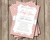 Baby Shower Invite girl, neutral baby shower invitations, coral, gray, girl, boy, chevron, stripes, printable, digital, invites, invitation
