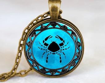 Cancer Zodiac Pendant, Cancer Zodiac Necklace, Cancer Zodiac Jewelry, Bronze (PD0319)