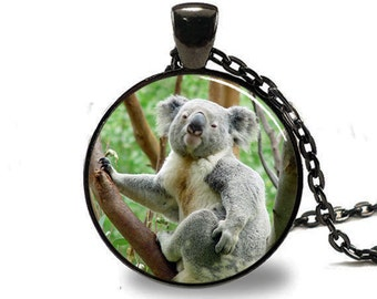 Koala Pendant, Koala Necklace, Koala Jewelry, Koala Charm, Black (PD0230)